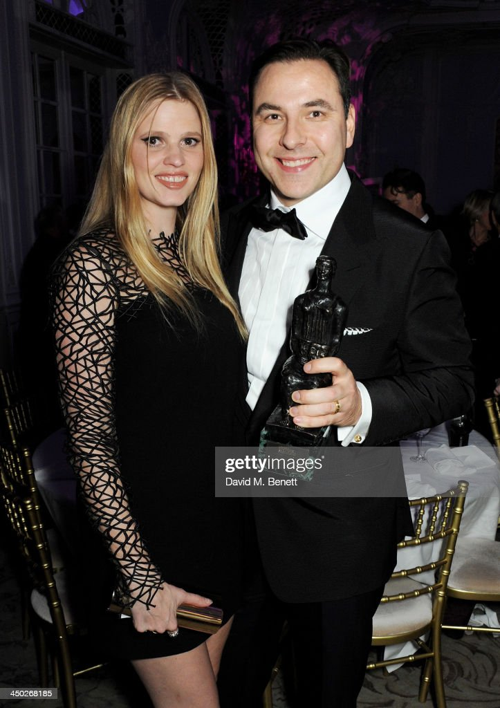 Award For Comedy winner <a gi-track='captionPersonalityLinkClicked' href=/galleries/search?phrase=David+Walliams&family=editorial&specificpeople=203020 ng-click='$event.stopPropagation()'>David Walliams</a> (R) and <a gi-track='captionPersonalityLinkClicked' href=/galleries/search?phrase=Lara+Stone&family=editorial&specificpeople=4340962 ng-click='$event.stopPropagation()'>Lara Stone</a> attend an after party following the 59th London Evening Standard Theatre Awards at The Savoy Hotel on November 17, 2013 in London, England.
