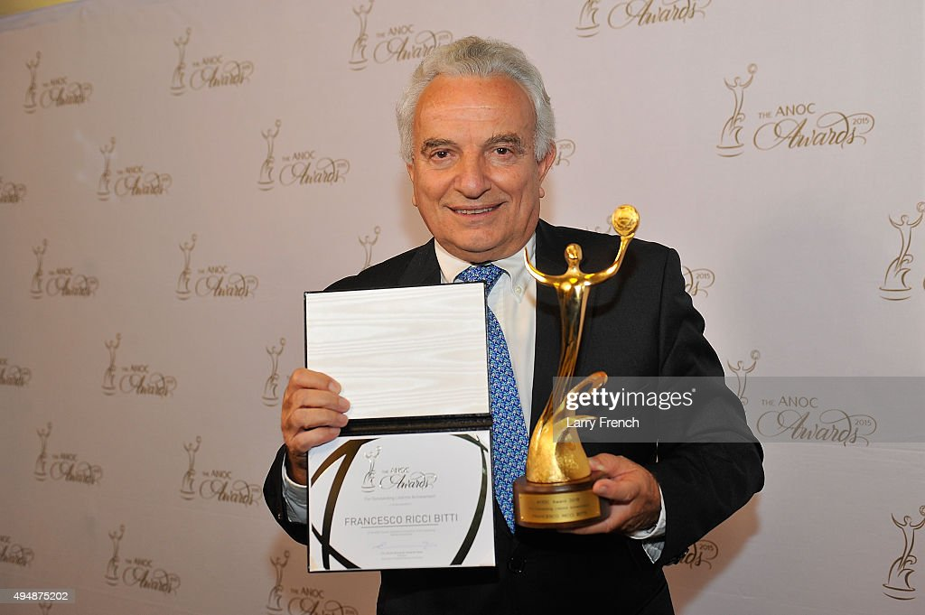 Award for Outstanding Lifetime Achievement: <a gi-track='captionPersonalityLinkClicked' href=/galleries/search?phrase=Francesco+Ricci+Bitti&family=editorial&specificpeople=575852 ng-click='$event.stopPropagation()'>Francesco Ricci Bitti</a> (Italy) attends the ANOC Awards 2015 at DAR Constitution Hall on October 29, 2015 in Washington, DC.