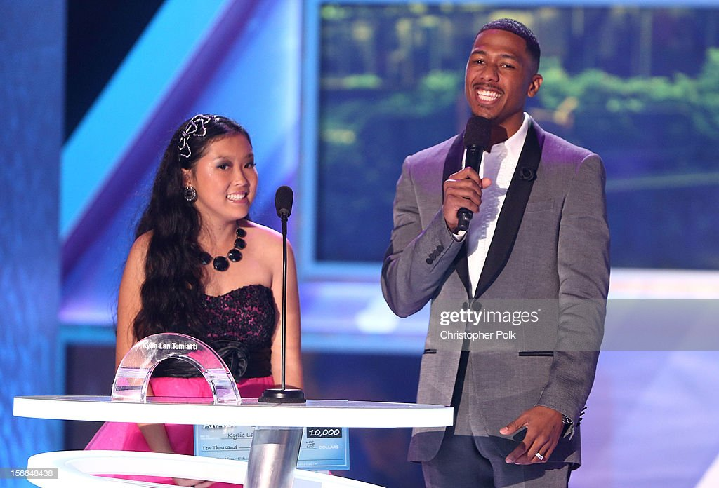 Award Nominee Kylie Lan Tumiatti (L) and TeenNick Chairman and HALO Awards host Nick Cannon speak onstage at Nickelodeon's 2012 TeenNick HALO Awards at Hollywood Palladium on November 17, 2012 in Hollywood, California. The show premieres on Monday, November 19th, 8:00p.m. (ET) on Nick at Nite.