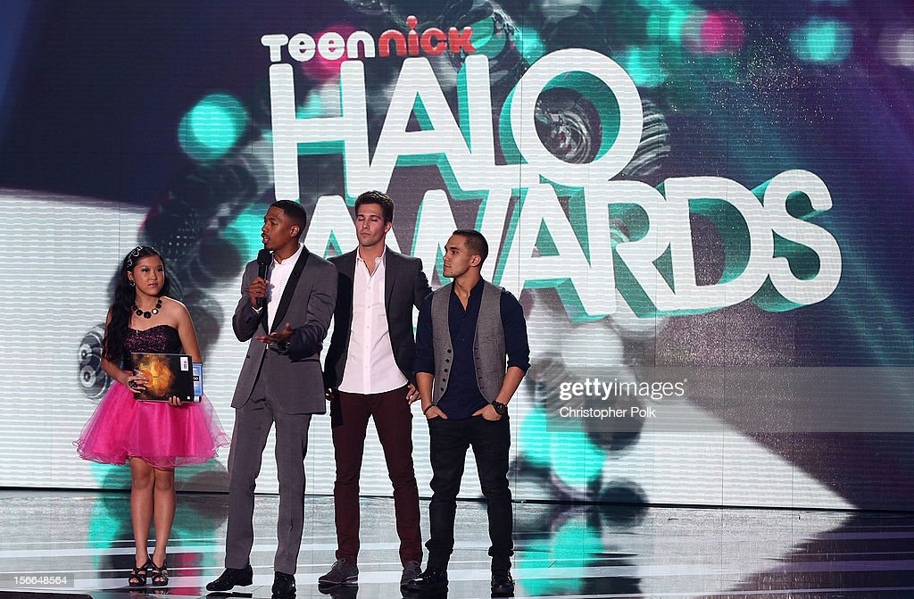 Award Nominee Kylie Lan Tumiatti, TeenNick Chairman and HALO Awards host Nick Cannon, actor James Maslow, and actor Carlos Pena Jr. speak onstage at Nickelodeon's 2012 TeenNick HALO Awards at Hollywood Palladium on November 17, 2012 in Hollywood, California. The show premieres on Monday, November 19th, 8:00p.m. (ET) on Nick at Nite.