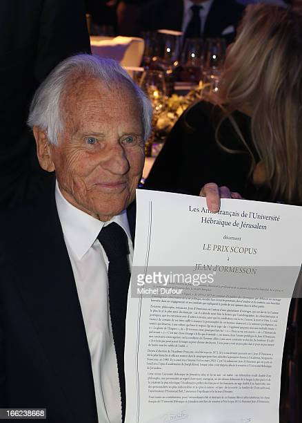 2013 award recepient Jean D'Ormesson attends the 'Scopus Awards' 2013 at Espace Cambon Capucines on April 10 2013 in Paris France