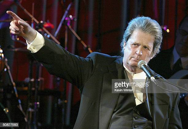 Award recipient and musician Brian Wilson performs at the 2004 BMI Pop Awards at the Regent Beverly Wilshire Hotel on May 11 2004 in Beverly Hills...