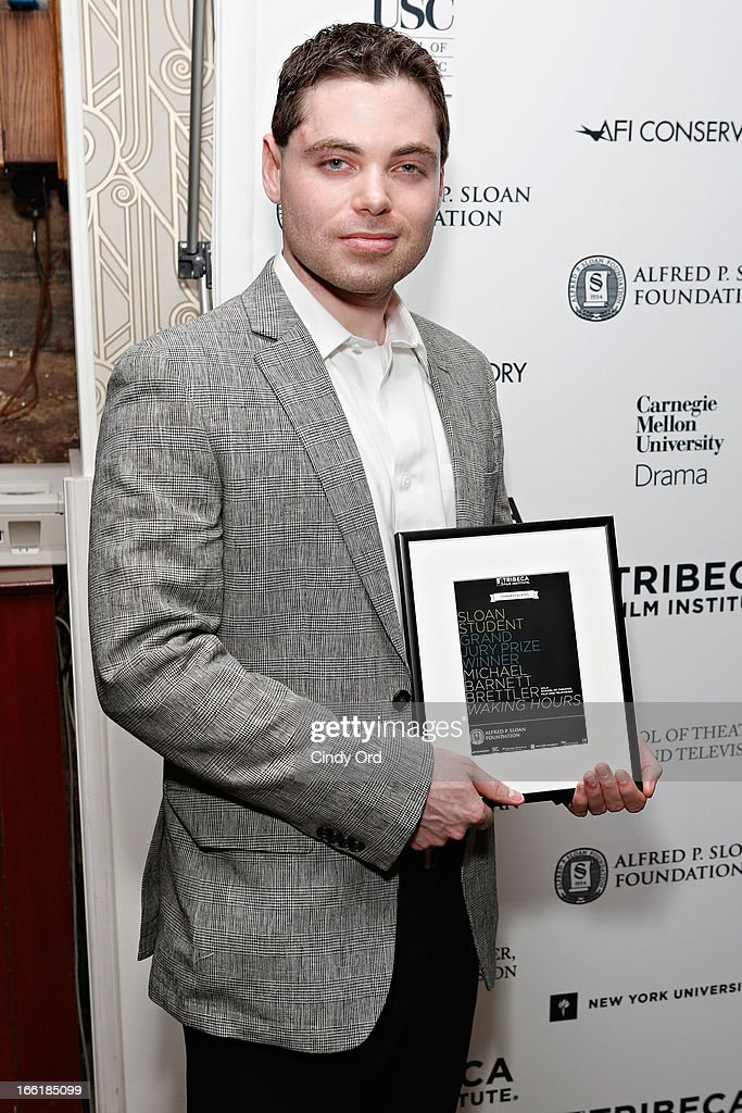 Award recipient/ filmmaker Barnett Brettler attends the Sloan Foundation Student Grand Jury Prize Award presentation on April 9 2013 in New York City