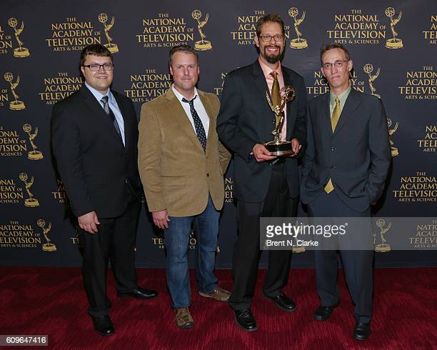 Award recipients for motion graphics/art direction for 'Valley Uprising' Wesley Meeks Greg Twigg Barry Thompson and Mark Palkoski pose during the...