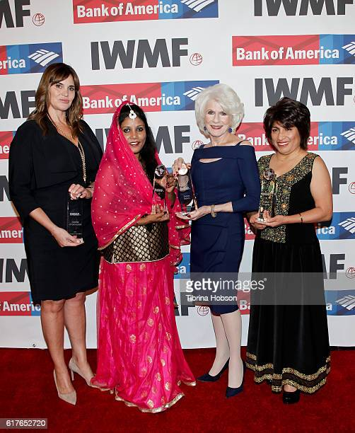 Award recipients Janine di Giovanni Stella Paul Diane Rehm and Mabel Caceres attend the International Women's Media Foundation 27th annual Courage In...