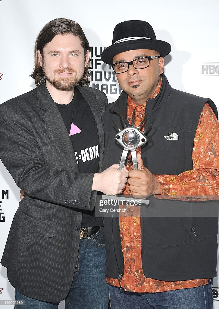 Award recipients Tyler H. Walk (L) and T. Woody Richman attend the 6th annual Cinema Eye Honors For Nonfiction Filmmaking at Museum of the Moving Image on January 9, 2013 in the Queens borough of New York City.