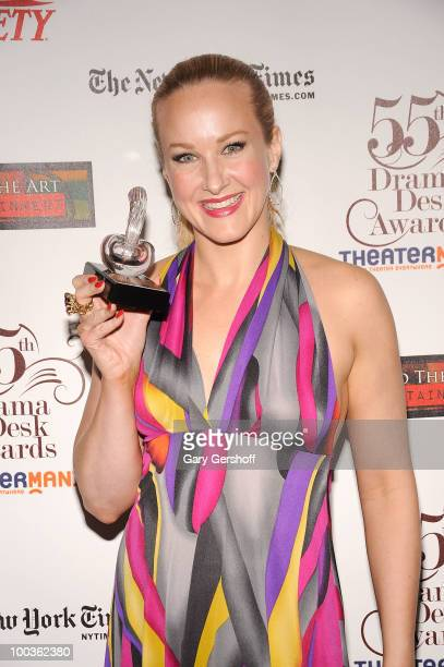 Award winner actress Katie Finneran attends the press room at the 55th Annual Drama Desk Awards at the FH LaGuardia Concert Hall at Lincoln Center on...