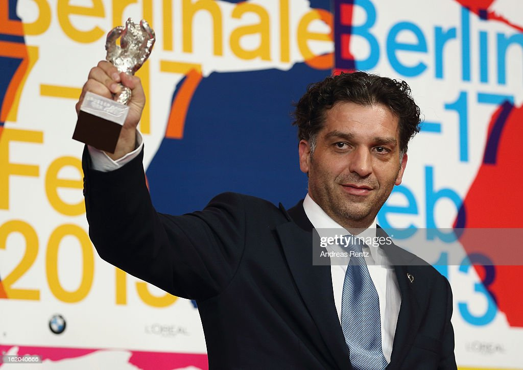 Award winner Danis Tanovic with his Silver Bear at the Award Winners press conference during the 63rd Berlinale International Film Festival at Grand Hyatt Hotel on February 14, 2013 in Berlin, Germany.