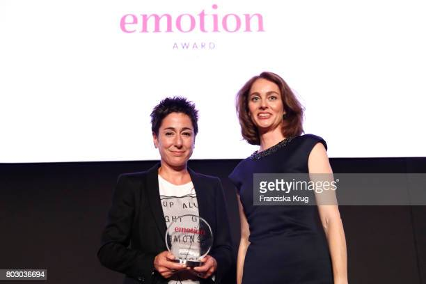 Award winner Dunja Hayali and Katarina Barley attends the Emotion Award at Laeiszhalle on June 28 2017 in Hamburg Germany