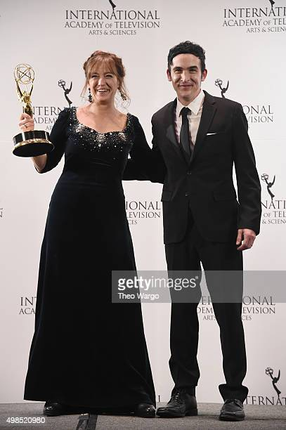 Award Winner for Best Performance By An Actress Anneke von der Lippe as Helen Sikkeland for Qevitne celebrates with Presenter Robin Lord Taylor at...