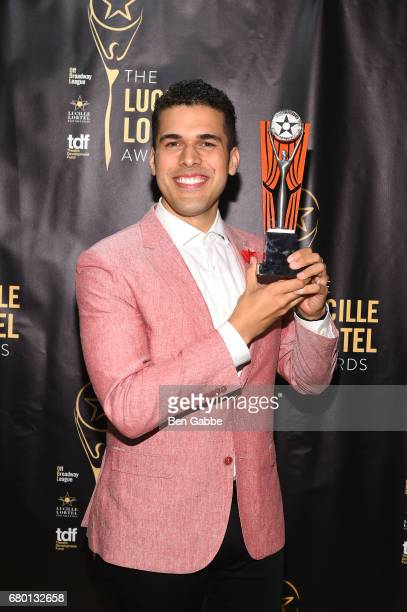Award winner Joel Perez poses backstage at 32nd Annual Lucille Lortel Awards at NYU Skirball Center on May 7 2017 in New York City