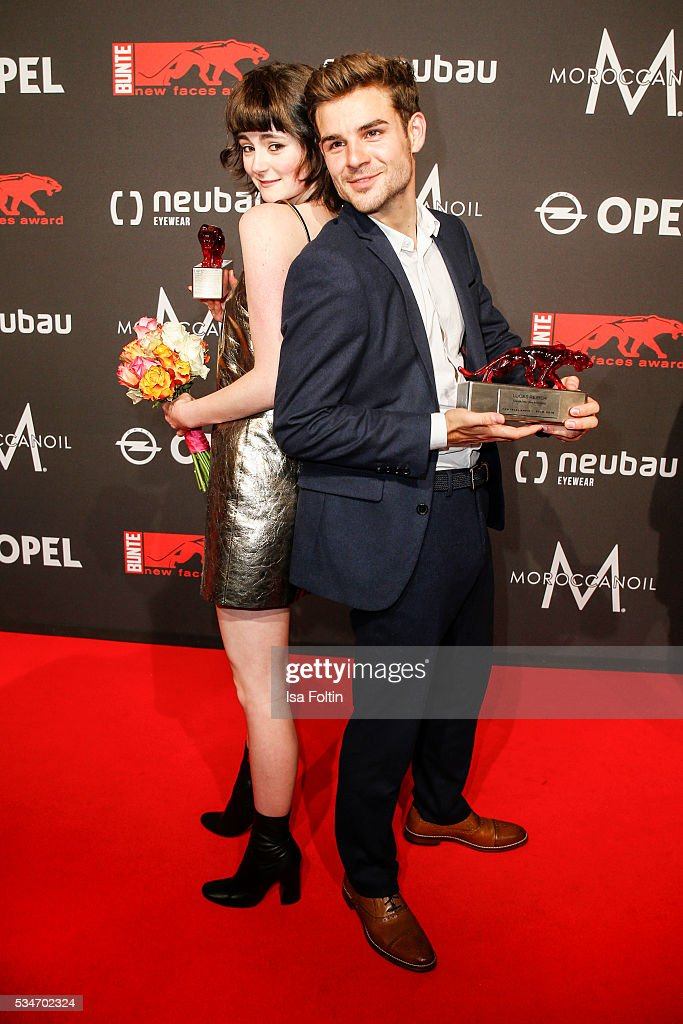Award winner Lea van Acken with award winner Lucas Schreiber during the New Faces Award Film 2016 at ewerk on May 26, 2016 in Berlin, Germany.