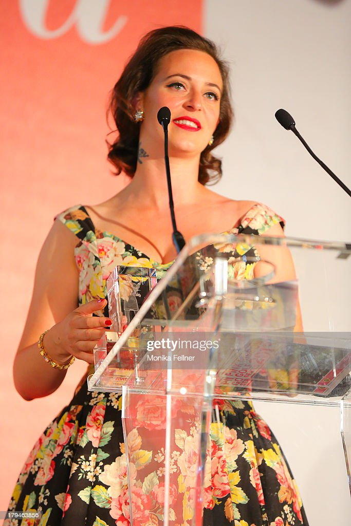 Award winner Lena Hoschek speaks during the Leading Ladies Awards 2013 at Belvedere Palace on September 3, 2013 in Vienna, Austria.