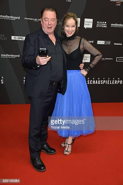 Award winner Peter Kurth and AnnKathrin Kramer during the Deutscher Schauspielerpreis 2016 on May 20 2016 in Berlin Germany