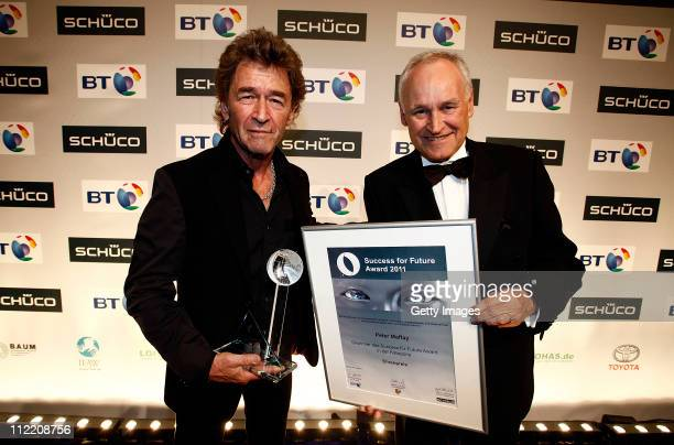 Award winner Peter Maffay and Erwiun Huber pose for a picture during the Success for Future Award 2011 at Bayerischer Hof on April 14 2011 in Munich...