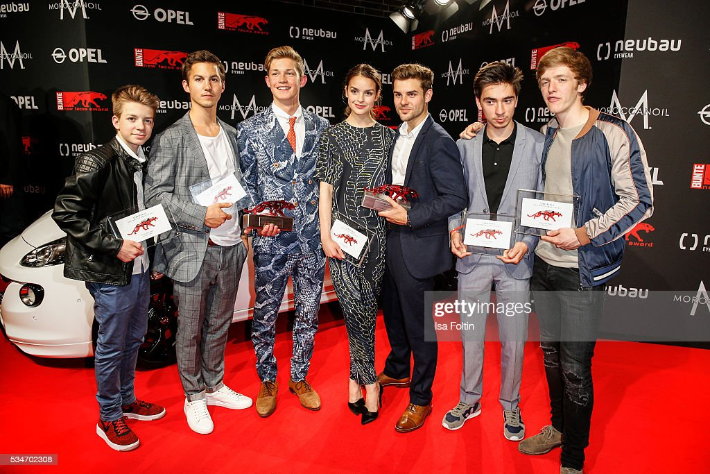 Award winner, the cast of 'Club der roten Baender', Nick Julius Schuck, Tim Oliver Schuch, Damian Hardung, Luise Befort, Ivo Kortlang and Timur Bartels with award winner Lucas Schreiber during the New Faces Award Film 2016 at ewerk on May 26, 2016 in Berlin, Germany.