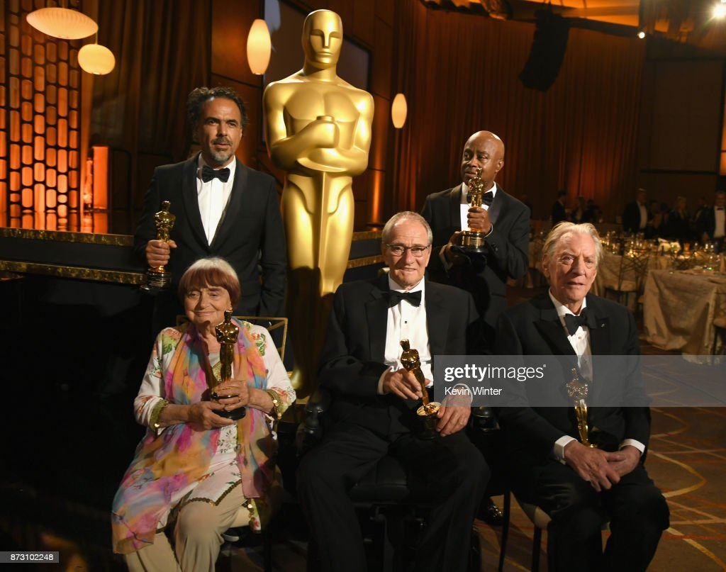 Award winners Agnes Varda, Alejandro González Iñárritu, Owen Roizman, Charles Burnett and Donald Sutherland attend the Academy of Motion Picture Arts and Sciences' 9th Annual Governors Awards at The Ray Dolby Ballroom at Hollywood & Highland Center on November 11, 2017 in Hollywood, California.