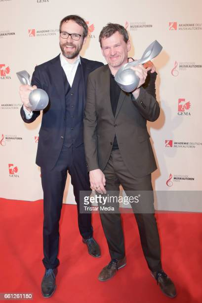 Award winners composition audiovisual composition Rene Dohmen and Jumpel Duerbeck during the 9th GEMA Musikautorenpreis at Ritz Carlton on March 30...