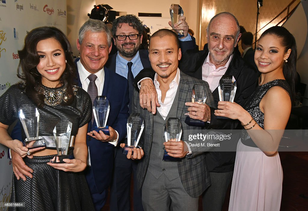 Award winners from 'Miss Saigon' including Rachelle Ann Go, Sir <a gi-track='captionPersonalityLinkClicked' href=/galleries/search?phrase=Cameron+Mackintosh&family=editorial&specificpeople=217237 ng-click='$event.stopPropagation()'>Cameron Mackintosh</a>, director Laurence Connor, Jon Jon Briones, Claude Michel Schonberg and Eva Noblezada pose in the press room at the WhatsOnStage Awards at The Prince of Wales Theatre on February 15, 2015 in London, England.