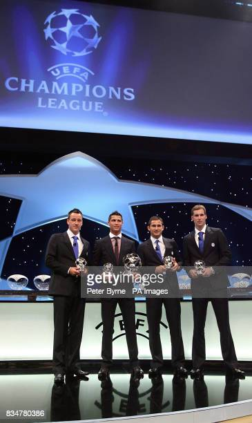 Award winners John Terry Cristiano Ronaldo winner of the top award Frank Lampard and Peter Cech at the Grimaldi Forum Monaco