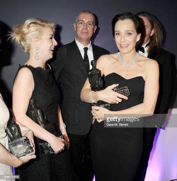Award winners Sheridan Smith Neil Tennant and Kristin Scott Thomas attend an after party following the 57th Evening Standard Theatre Awards at The...