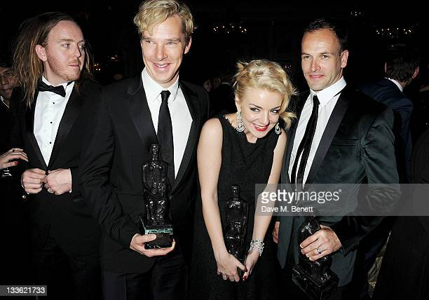Award winners Tim Minchin Benedict Cumberbatch Sheridan Smith and Jonny Lee Miller attend an after party following the 57th Evening Standard Theatre...