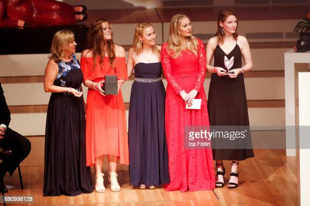 Award winners with german presenter Ruth Moschner during the Victress Awards Gala on May 8 2017 in Berlin Germany