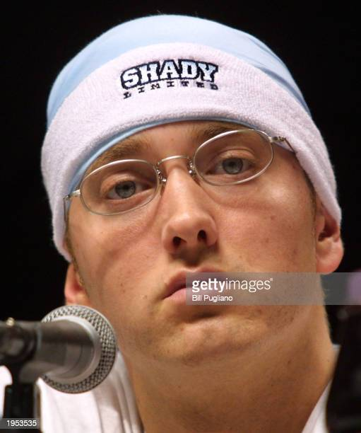 Award winning hiphop artist Eminem cohosts the Detroit Hip Hop Summit April 26 2003 in Detroit Michigan The event is the largest Hip Hop summit in...