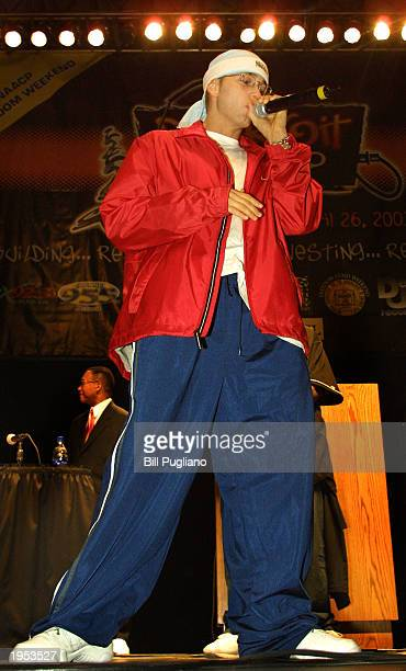 Award winning hiphop artist Eminem greets his fans at the Detroit Hip Hop Summit at the Cobo Arena April 26 2003 in Detroit Michigan The event is the...