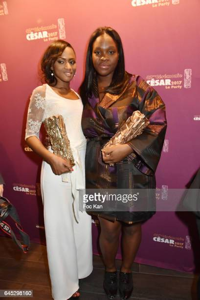 Awarded director Maimouna Doucoure for the best Short Movie 'Maman'Êand Deborah Lukumuena from 'Divines ' attend the Cesar's after party at Le Queen...