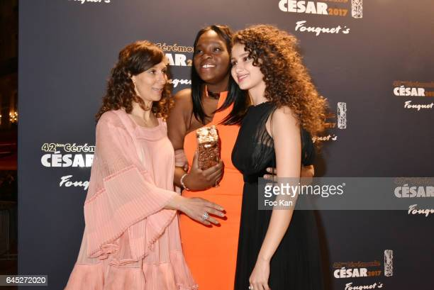 Awarded Houda Benyamina Deborah Lukumuena and Oulaya Amamra attend the Cesar's Dinner at Le Fouquet's on February 24 2017 in Paris France