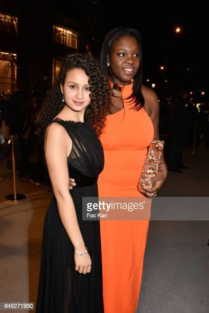 Awarded Oulaya Amamra and Deborah Lukumuena attend the Cesar's Dinner at Le Fouquet's on February 24 2017 in Paris France
