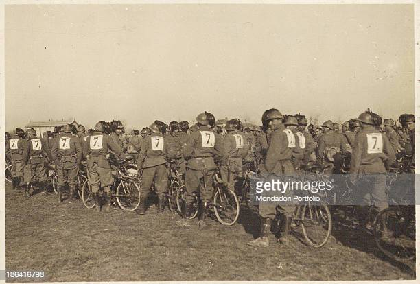 ARMY Awards ceremony for the Cyclists Bersaglieri Battalion after the cycle race 1918 Gelatine process Rome Central Museum of the Risorgimento