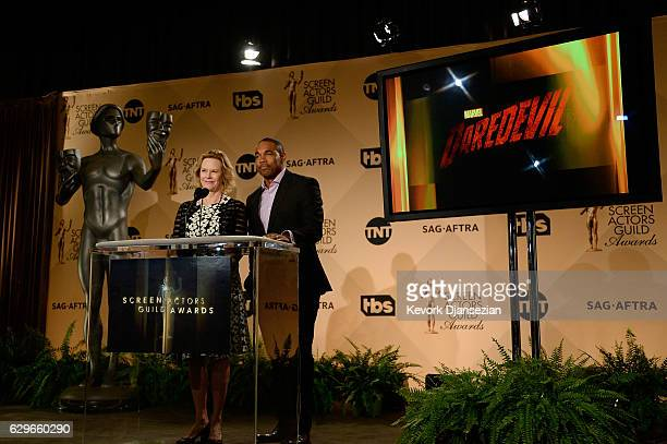 Awards Committee Chair and SAGAFTRA Foundation President JoBeth Williams and Jason George speak at the 23rd annual SAG Awards nominations...