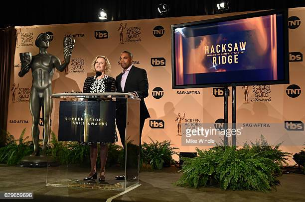 Awards Committee Chairs JoBeth Williams and Jason George attend the 23rd Annual SAG Award Nominations Announcement at Silver Screen Theater on...