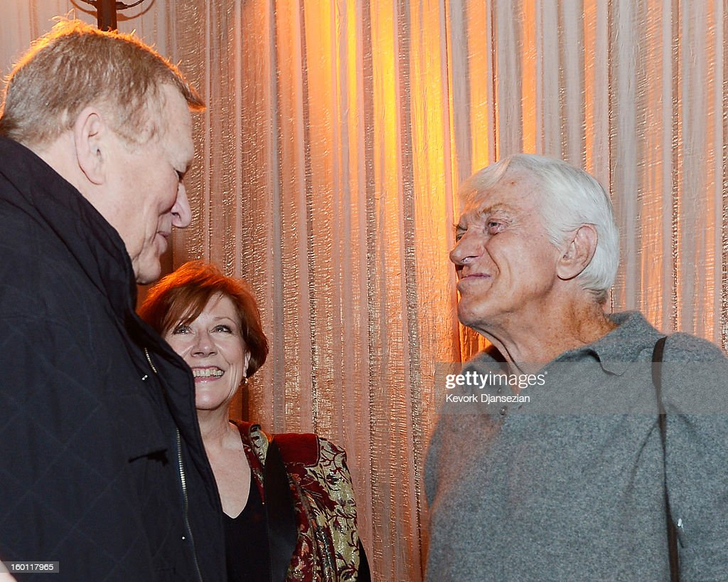 SAG Awards honoree Dick Van Dyke (R) speaks with SAG-AFTRA Co-Presidents Roberta Reardon and Ken Howard in the Green Room at the 19th Annual Screen Actors Guild Awards at The Shrine Auditorium on January 26, 2013 in Los Angeles, California.