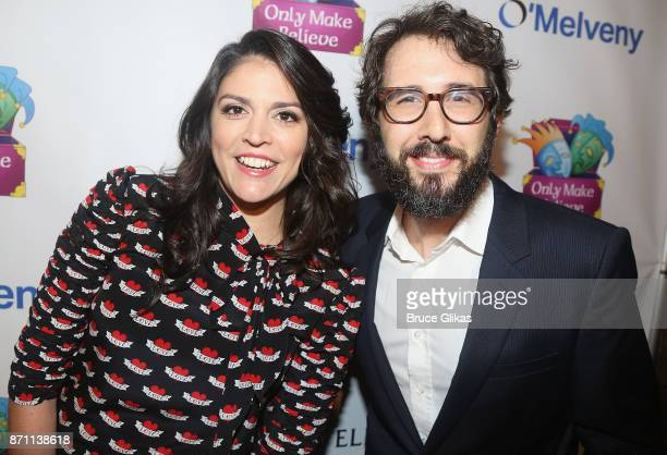 Awards Host Cecily Strong and Sir Ian McKellen Award Honoree Josh Groban pose at the '2017 Only Make Believe Gala' at The Gerald Schoenfeld Theatre...