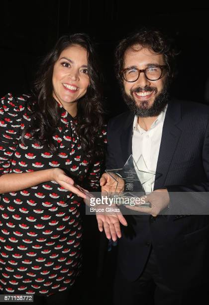 Awards Host Cecily Strong and Sir Ian McKellen Award Honoree Josh Groban pose backstage with his award at the '2017 Only Make Believe Gala' at The...