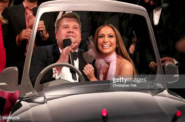 Awards host James Corden and actress/singer Jennifer Lopez during The 59th GRAMMY Awards at STAPLES Center on February 12 2017 in Los Angeles...