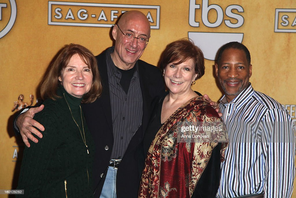 SAG awards producer Kathy Connell, Walter Cline, SAG-AFTRA president <a gi-track='captionPersonalityLinkClicked' href=/galleries/search?phrase=Roberta+Reardon&family=editorial&specificpeople=4401659 ng-click='$event.stopPropagation()'>Roberta Reardon</a> and the associate national executive director Mathis Dunn attend the Red Carpet Roll Out and presenter rehearsals for the 19th annual Screen Actors Guild Awards at The Shrine Expo Hall on January 26, 2013 in Los Angeles, California.