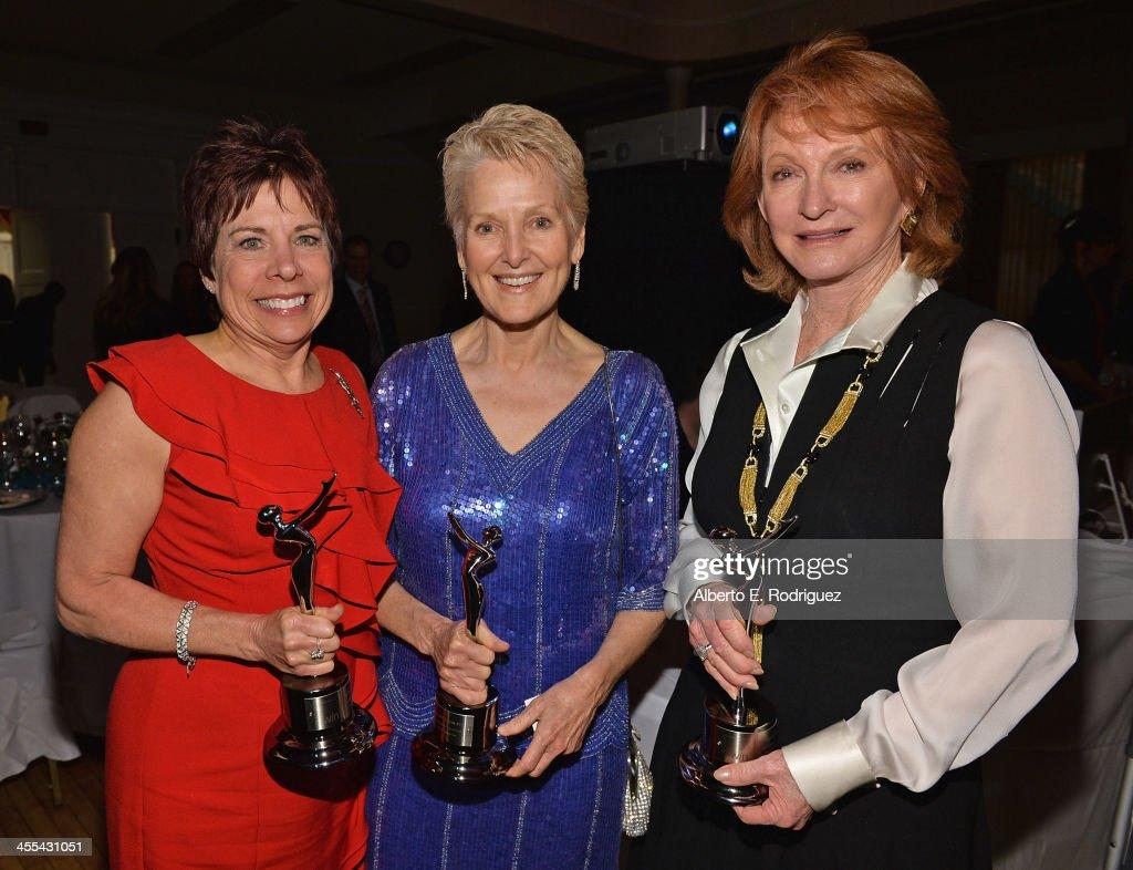 Awards publicist Rosalind Jarrett Sepulveda, Ambassador Swanee Hunt and philanthropist Cecilia DeMille Presley attend the WIN Awards at Santa Monica Bay Womans Club on December 11, 2013 in Santa Monica, California.