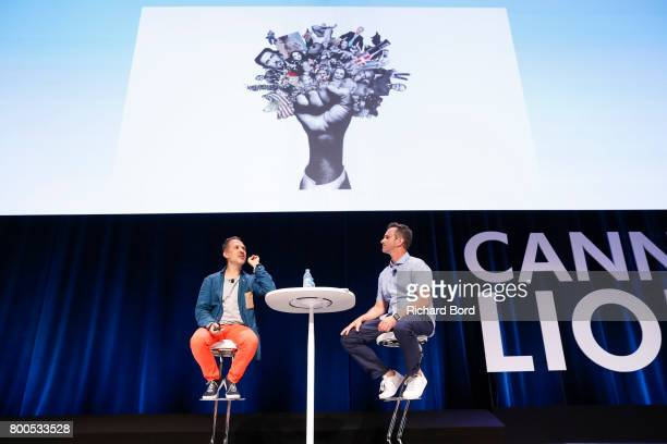 AwardWinning Photographer Platon and Global Chief Creative Officer of TBWA Chris Garbutt speak during the Cannes Lions Festival 2017 on June 24 2017...