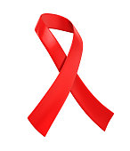 AIDS Awareness Red Ribbon isolated on white background. 3D render