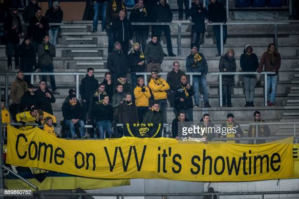 away fans banner come on vvv it is showtime during the Dutch Eredivisie match between sc Heerenveen and VVV Venlo at Abe Lenstra Stadium on December...