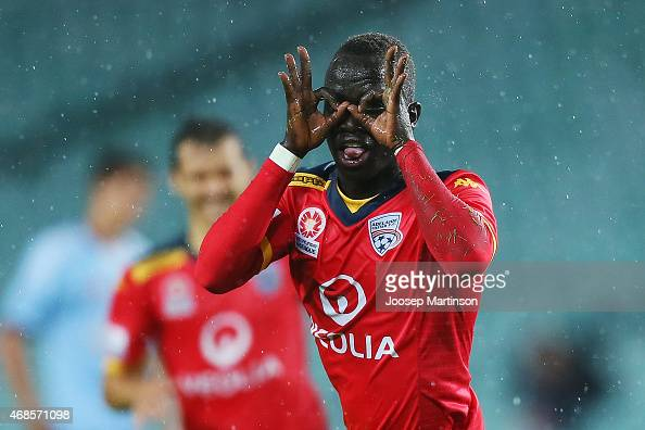 Awer Mabil of Adelaide United celebrates his goal with teammates during the round 24 ALeague match between Sydney FC and Adelaide United at Allianz...