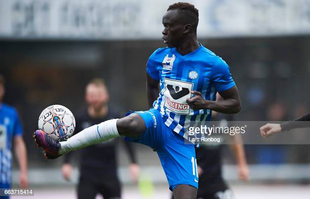 Awer Mabil of Esbjerg fB controls the ball during the Danish Alka Superliga match between Esbjerg fB and Randers FC at Blue Water Arena on April 2...