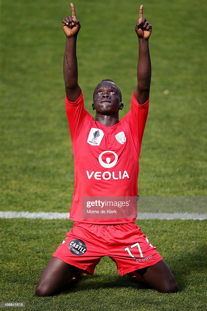 Awer Mabil of United celebrates after scoring a goal during the FFA Cup match between Adelaide United and Central Coast Mariners at Coopers Stadium...