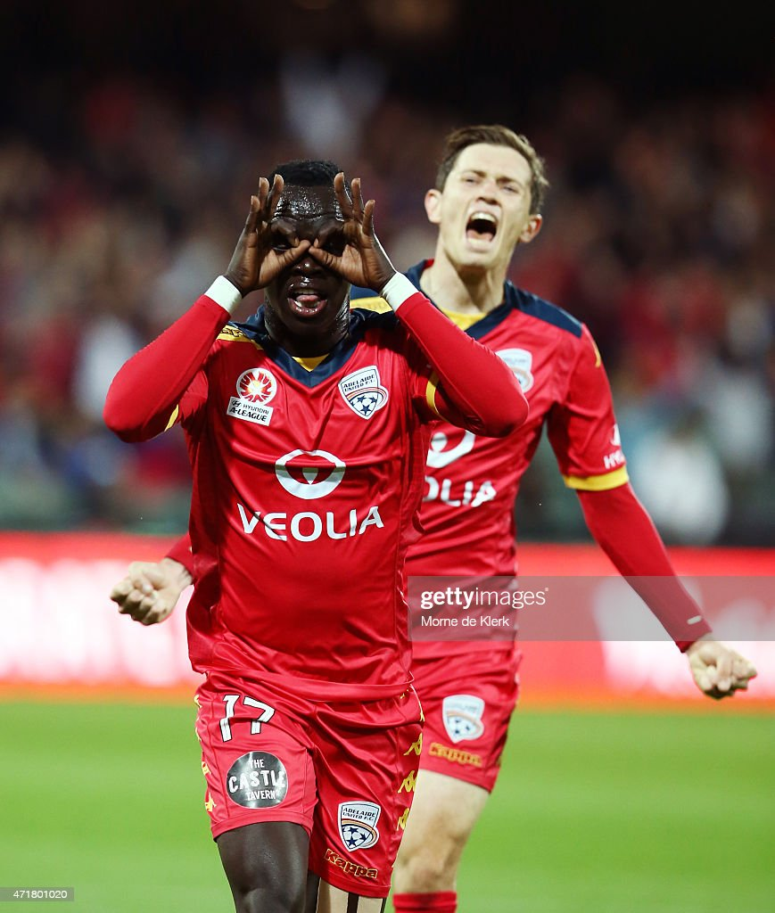 Awer Mabil of United celebrates after scoring a goal during the ALeague Elimination Final match between Adelaide United and Brisbane Roar at Adelaide...