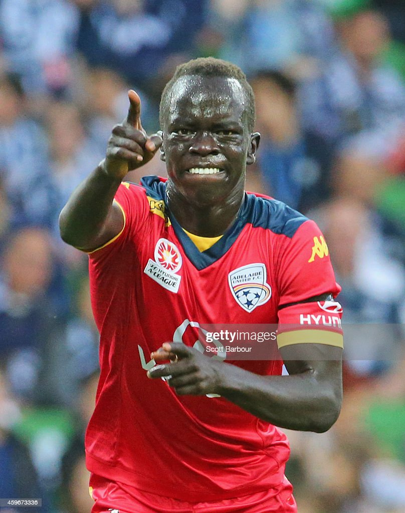Awer Mabil of United celebrates after scoring a goal during the round eight ALeague match between Melbourne Victory and Adelaide United at AAMI Park...