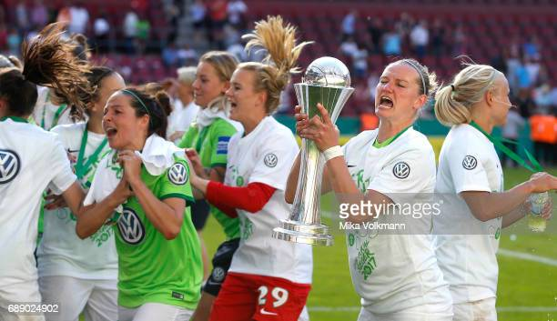 Axandra Popp of Wolsburg celebrates the winning of the cup after the Women's DFB Cup Final 2017 match between SC Sand and VFL Wolfsburg at...